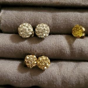 Gold and Silver Cubic Zirconia Cluster Earrings